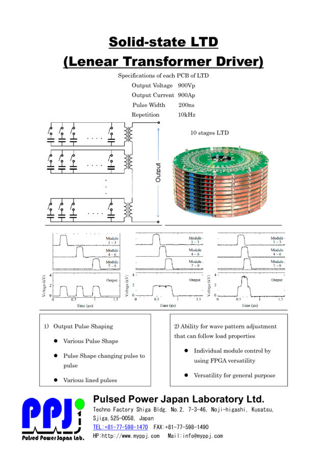 Solid-state LTD (Lenear Transformer Driver)Specifications of each PCB of LTD
